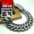 Alta qualidade 316l titanium aço pulseira bar dj do punk rock hiphop super grande grande cadeia pulseira pulseiras homens jóias acessórios