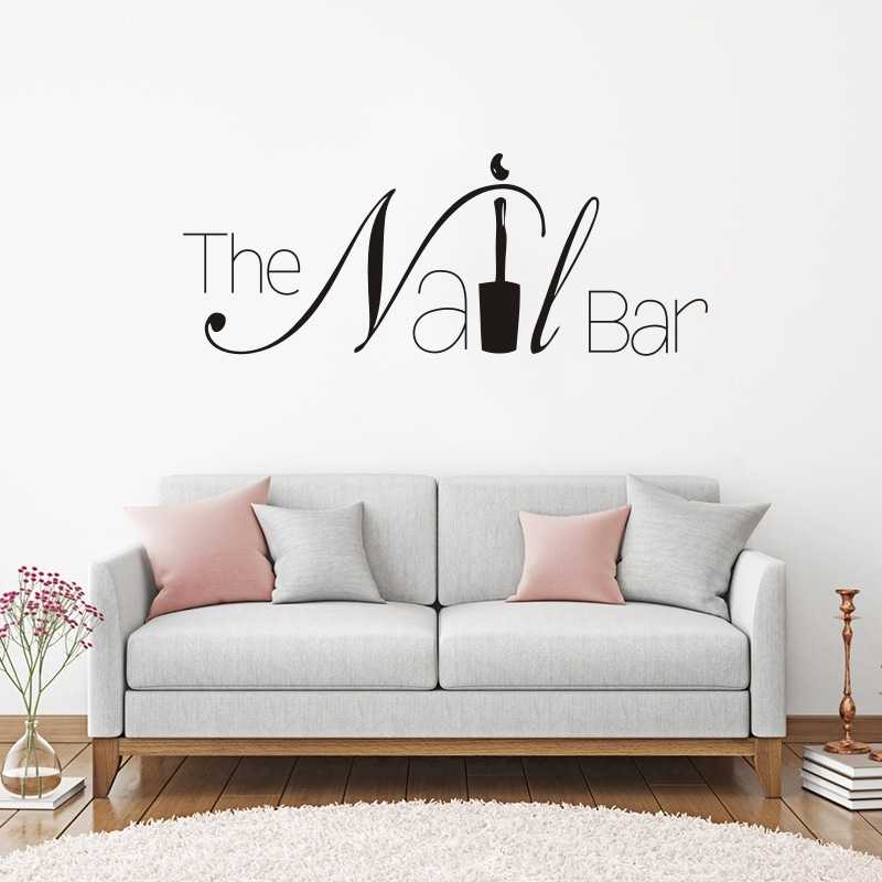 The Nail Bar Logo Wall Window Sticker Manicure Design Wall Decal Removable  Nail Art Wall Poster Beauty Salon Window Decor W198