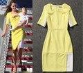 Принцесса Кейт Миддлтон платье мода лето 2015 новая Взлетно-Посадочная Полоса тонкий вскользь дамы лоскутное Половины Рукав Плюс размер Платье Карандаша