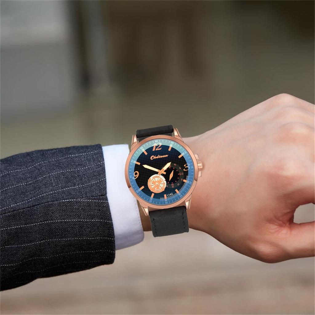 Fashion Unique Round Dial Watch Leather Men's Quartz Watch Men's Casual Watch Luxury Casual Watch Clock Drop. 3.22