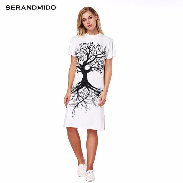 SERANDMIDO Tree Painted Plus Size Dress 2018 New Short Sleeve Long ...