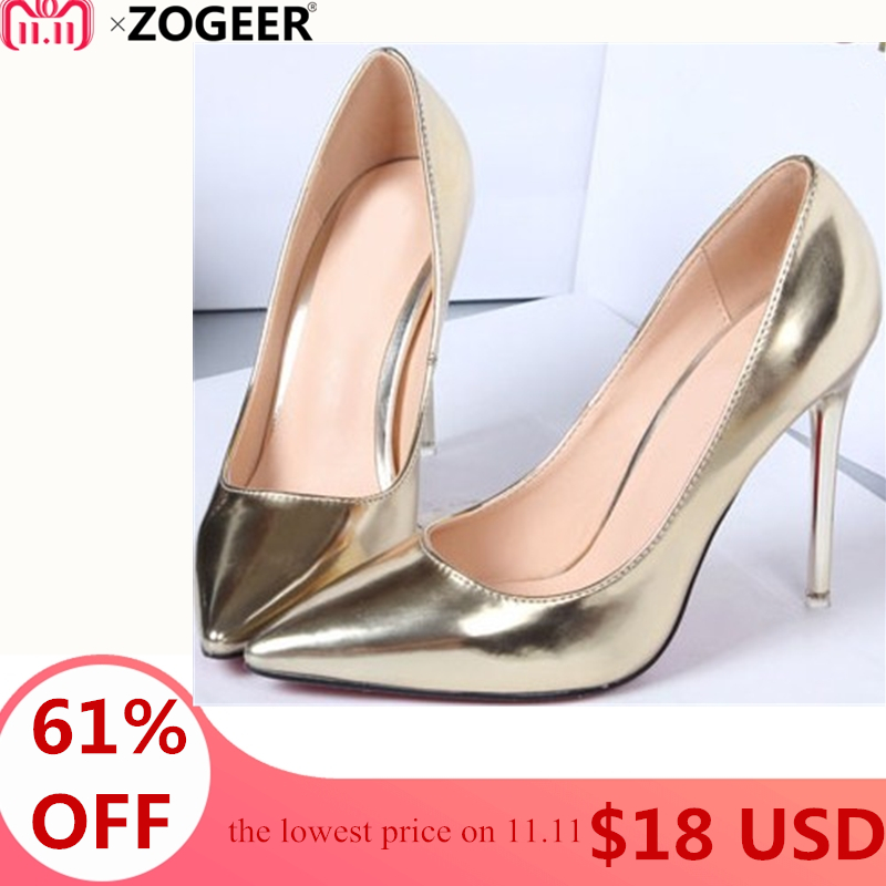 Hot 2018 Spring Autumn Women Pumps Sexy Gold Silver High Heels Shoes Fashion Pointed Toe Wedding Shoes Party Women Shoes siketu free shipping spring and autumn new women shoes fashion sexy high heels shoes wedding shoes pumps g409 18cm sandals