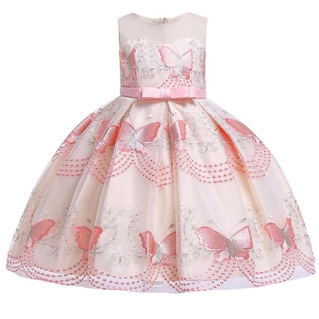 Butterfly embroidery flower girl princess party dresses for weddings kids girl clothes children clothing baby costume L5088