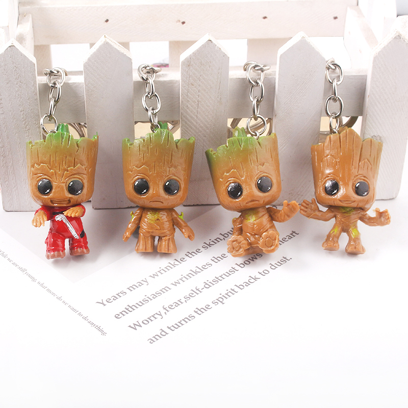 Cute Kawaii I am Groot Baby Keychain Avengers Guardians of The Galaxy Figure Car Key Keyring Fashion Accessories Gift