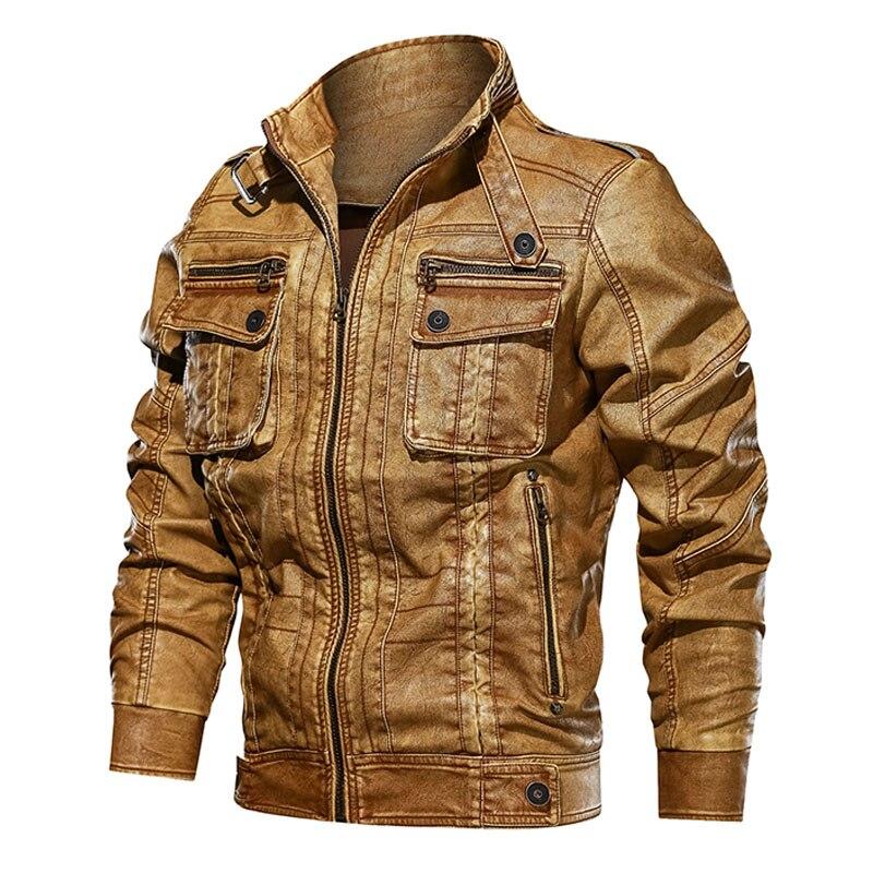TACVASEN Mens Leather Jacket Spring Autumn Men Vintage Motorcycle Faux Leather Jacket Coat Fashion PU Leather Jacket