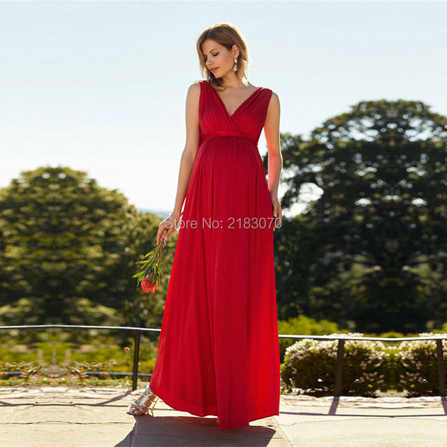 Fashion Red Pregnant Evening Dresses 2017 Simple Design Tank Long ...