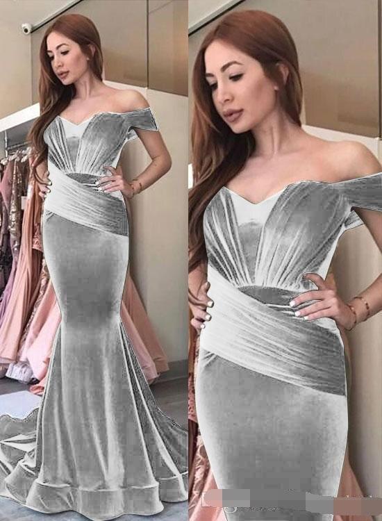 Velvet Mermaid Prom Dresses Formal Evening dress 2019 abiye Off the Shoulder Evening Gown Pleated Floor Length robe de soiree
