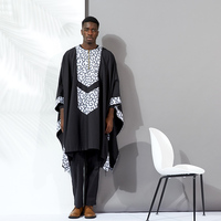 african men clothes dashiki suits tops shirt pant 3pieces set Stitching wax material black cotton african mens clothing