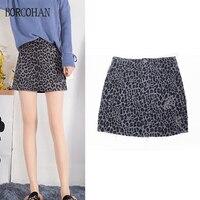 2019 Summer Leopard print miniskirt ripped denim skirt animal spotted skirt ripped hem skirt with stretch denim hem yk56