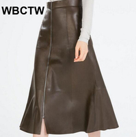 2017 Party Simple Zipper High Waist Skirt Vintage Short Winter Skirts Women Bottoms PU Faux Leather
