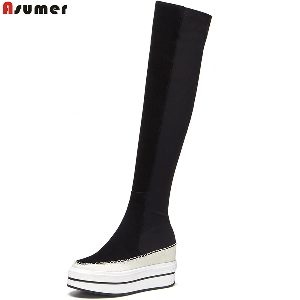 ASUMER platform wedges shoes woman boots round toe zipper increased internal stretck fabric+suede leather over the knee boots