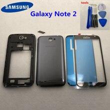 Carcasa completa de repuesto para Samsung Galaxy Note 2 II N7100 N7105, Marco medio, cubierta trasera, vidrio frontal + herramienta
