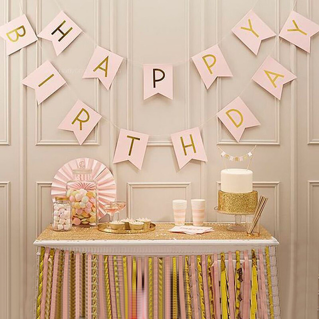 1set Happy Birthday Banner Colorful vintage Handmade Paper Flags