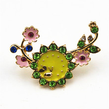 Green Enamel Plant Brooch