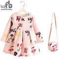 2-8years Vestido + Saco de varejo/set New Bonito Crianças Baby Girl Verão Primavera Outono da Longo-Luva Princesa Perfume flor Aniaml 2016