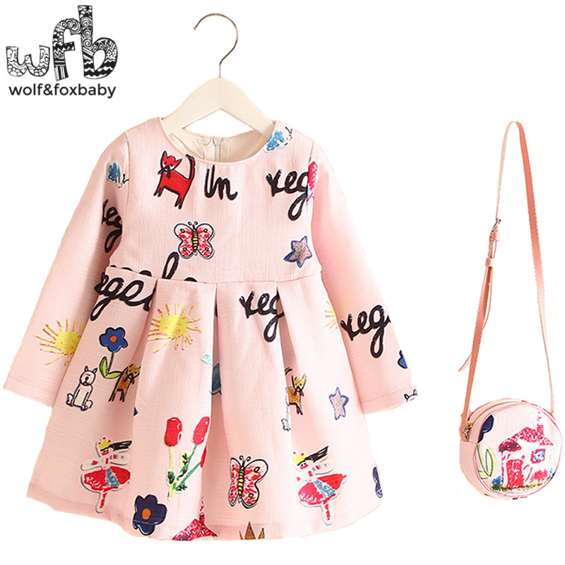 Retail 2-8years Dress+Bag/set New Cute Kids Baby Girl Summer Spring Fall Long-Sleeve Perfume Princess Flower Aniaml 2016 2 10yrs girls dress kids princess dress long sleeve baby girl cute palace style blue and white floral embroidery spring 2017 new