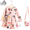 Retail 2-8years Dress+Bag/set New Cute Kids Baby Girl Summer Spring Fall Long-Sleeve Perfume Princess Flower Aniaml 2016