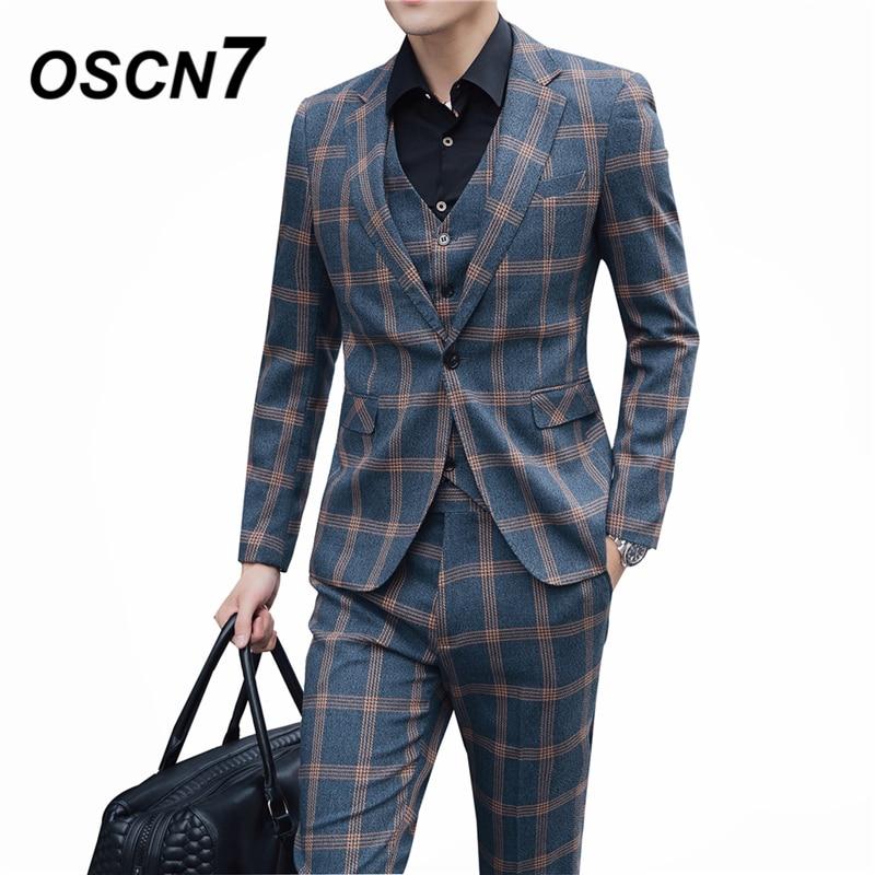Contemplative Oscn7 Casual Business Yellow Check 3 Piece Suit Men 2019 Wedding Dress Plaid Suits For Men Party Gentleman 6130