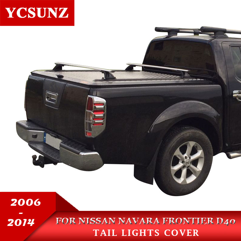 Car Chrome Navara 2006 Accessories Tail Light Cover Lamp Trim For Nissan Frontier Navara D40 2006 2013 Car Styling Plate Part-in Chromium Styling from Automobiles & Motorcycles    1