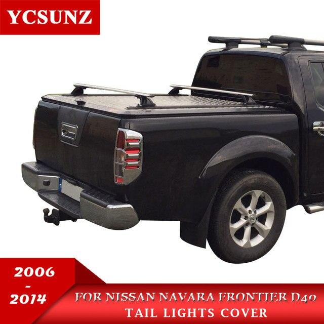 Coche cromo Navara 2006 cola luz de la lámpara Trim frontera de Nissan Navara D40 2006-2013 estilo de coche placa de parte
