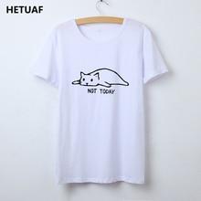 Kawaii Cat Tshirt Women Graphic Tees Women Not Today Funny T Shirt Women Top Hippie Tee Shirt Femme Ulzzang Camisetas Mujer