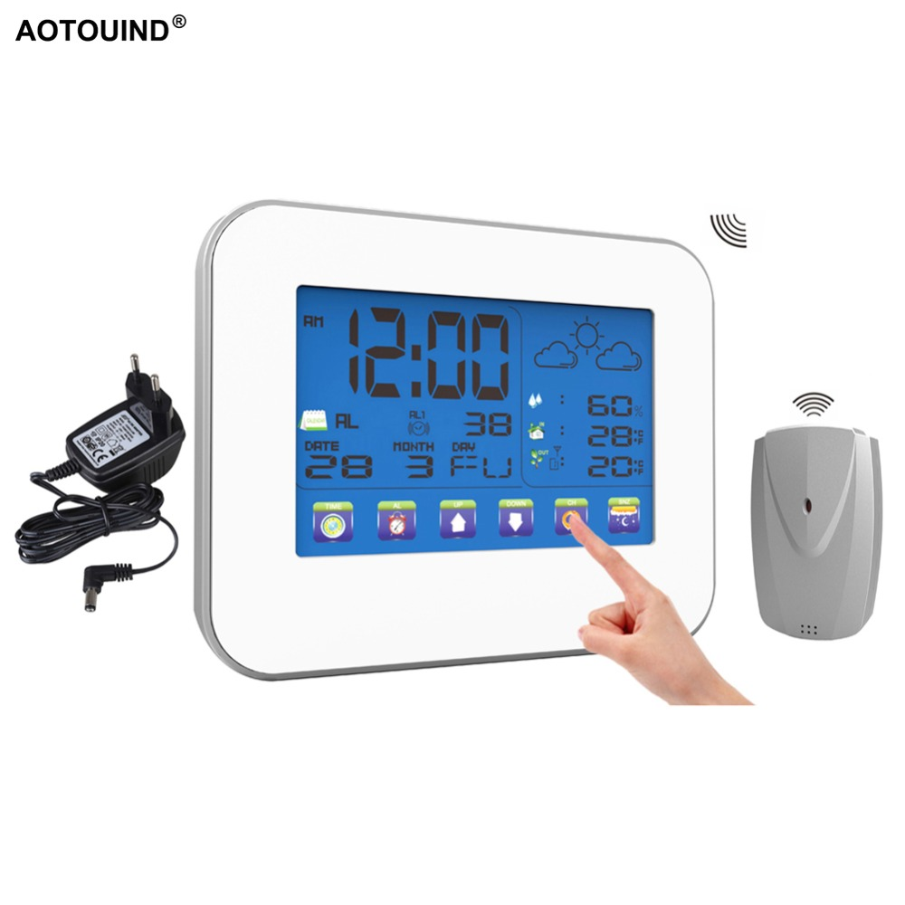 AOTOUIND Digital Wireless Indoor Outdoor Temperature Humidity RF Weather Station with Touch Screen