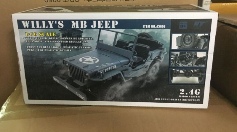 Military Model Electric Toys 1:10 Scale 2.4G 4WD World War II U. S. Army RC Willys JEEP Truck Model Toy For Gift Kids Collection