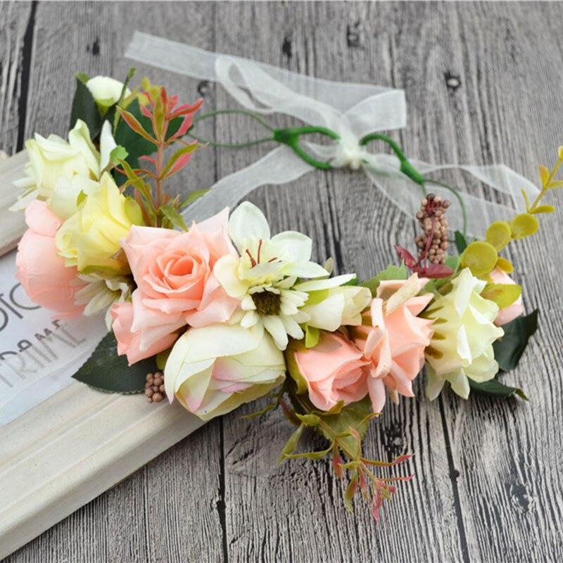 Bruids bloem krans vrouwen meisje Rose bloem kroon verstelbare 2017 nieuwe haaraccessoires Kid bruiloft