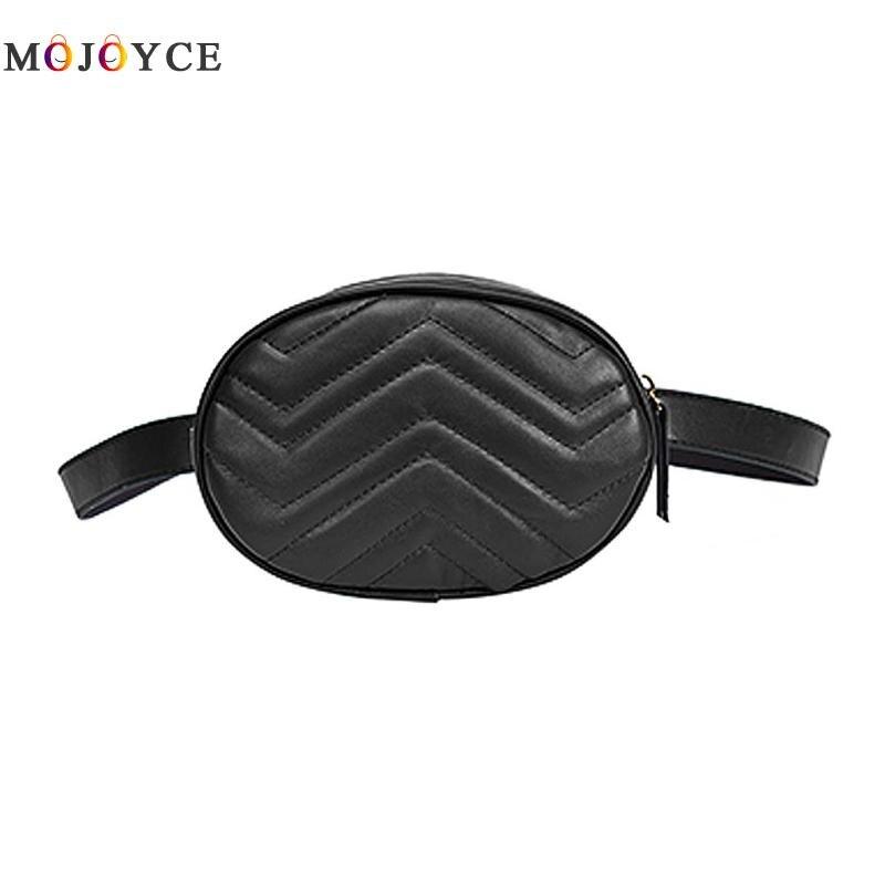 Luxury Design Women PU Leather Waist Bag Female Oval Shape One Shoulder Zipper Fanny Pack Ladies Belt Bag