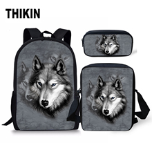THIKIN Men Schoolbags Backpack Animals Galaxy Fox Wolf Teenager Girls Boys School Bag Travel Backpack 3D Book Bags Dropping все цены