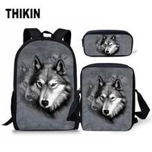THIKIN Men Schoolbags Backpack Animals Galaxy Fox Wolf Teenager Girls Boys School Bag Travel 3D Book Bags Dropping