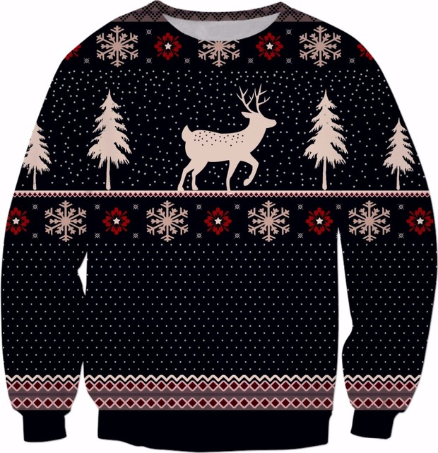 spring long sleeve o neck christmas sweatshirt xmas pattern crewneck christmas deer print hoodies style