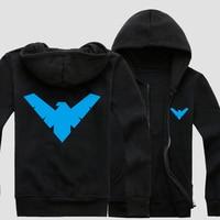 Mens Casual Batman Nightwing Robin Logo Superhero Justice League Black Zip Up Cotton Hoodie Sweatshirts Coat