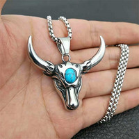 Punk Skull Bull Head Pendants Natural Stone Men's Necklace Stainless Steel Long Chain Gothic Animal Jewelry For Best Friend Gift