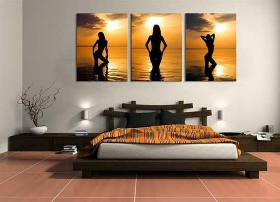 100% Dipinto A Mano Astratta Moderna Della Tela Pittura A Olio di Arte Foto sul Muro 3 Pannello Sunset Beach Sexy Ragazza Nuda