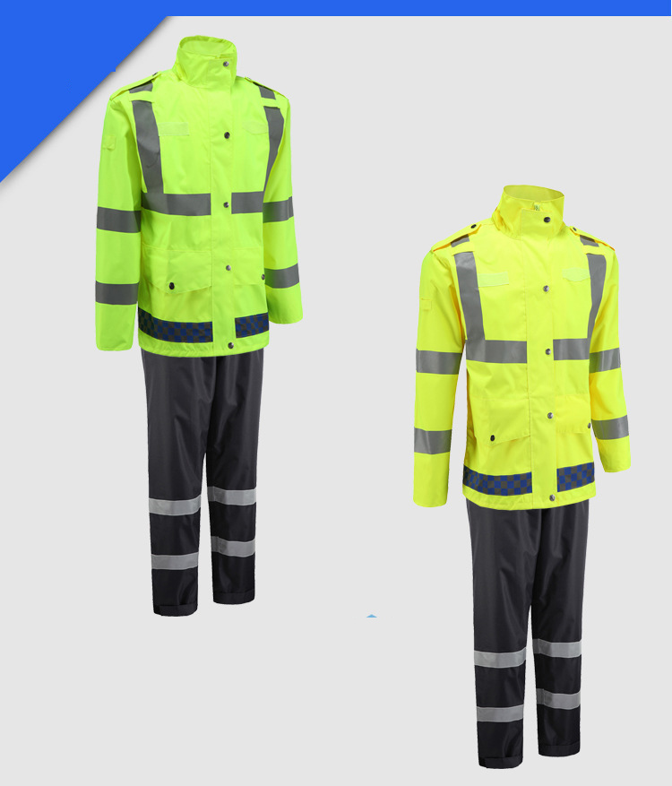 1 Set Waterproof fluorescent raincoat Cycling fishing outdoor set Includes tops and pants For outdoor Safety freeshipping
