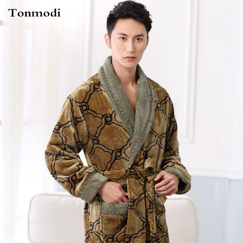Men Sleep Nightshirt For Robe Winter Flannel Sleepwear luxurious Nightgown Wear 100KG