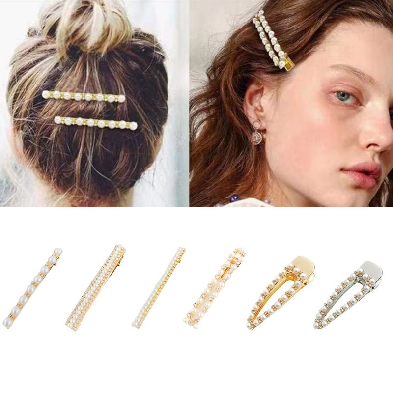 Ladies Retro Hollow Geometric Duckbill Hair Clip Girl Luxury Multi Row Glitter Rhinestone Faux Pearl Water Drop Hairgrips Barret