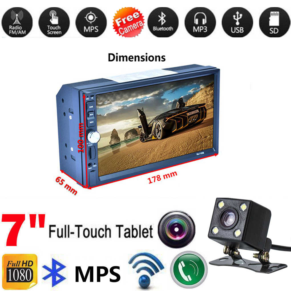 2 Din MP5 7155B Fahrzeug Auto MP5 Auto Radio Stereo mit Reverse Kamera RDS High Definition Touch Screen