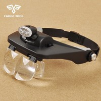 FGHGF Wearing Double Eye Magnifier Lamp Glasses LED Light Magnifying Microscope Portable Glass Loupe 4 Lens