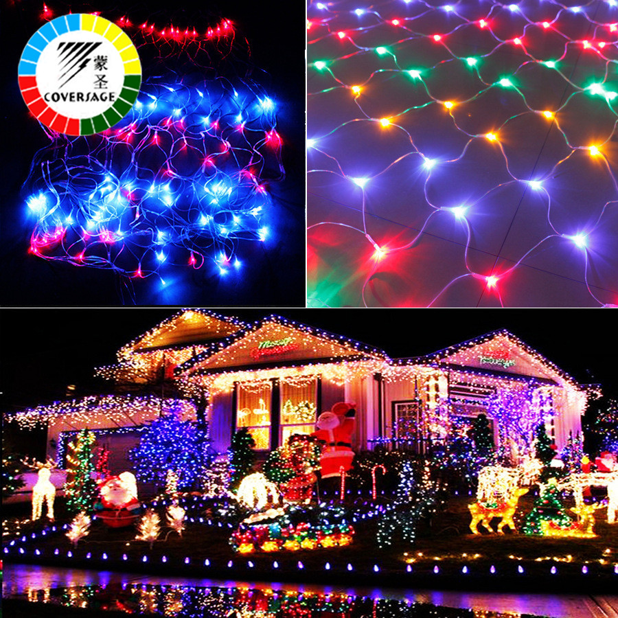 coversage 2x3m 4x6m christmas garlands led string christmas net lights fairy xmas party garden wedding decoration curtain lights in led string from lights