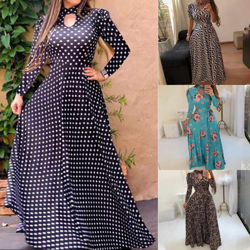 Autumn New Fashion Women's Long Sleeve Leopard Dot Foral Print O Neck Button Down Flowy Digital Swin Ladies Long Dress платье Z4