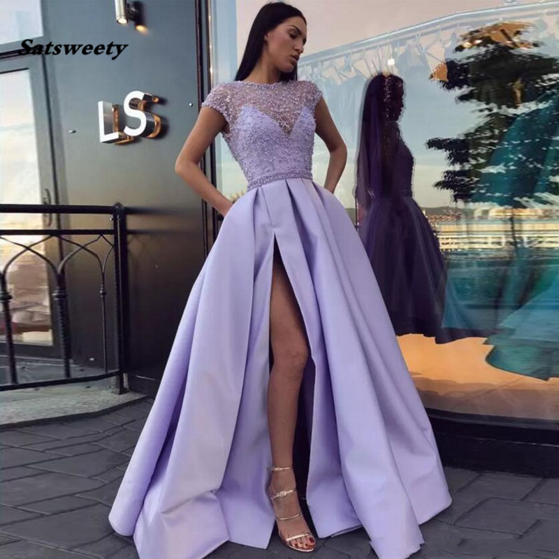Lilac Satin Split Side Evening Dresses Beaded Cap Sleeves Floor Length Formal Women Party Dresses Sexy Lavender Prom Gowns