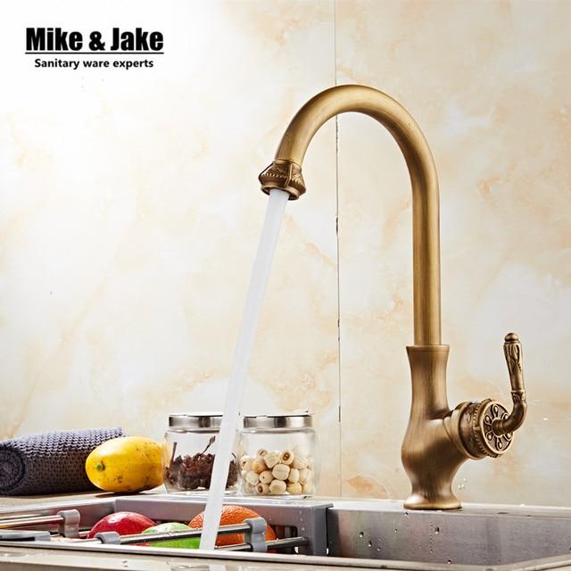 Antique Brass Kitchen Mixer Faucet Vintage Kitchen Sink Tap Brass
