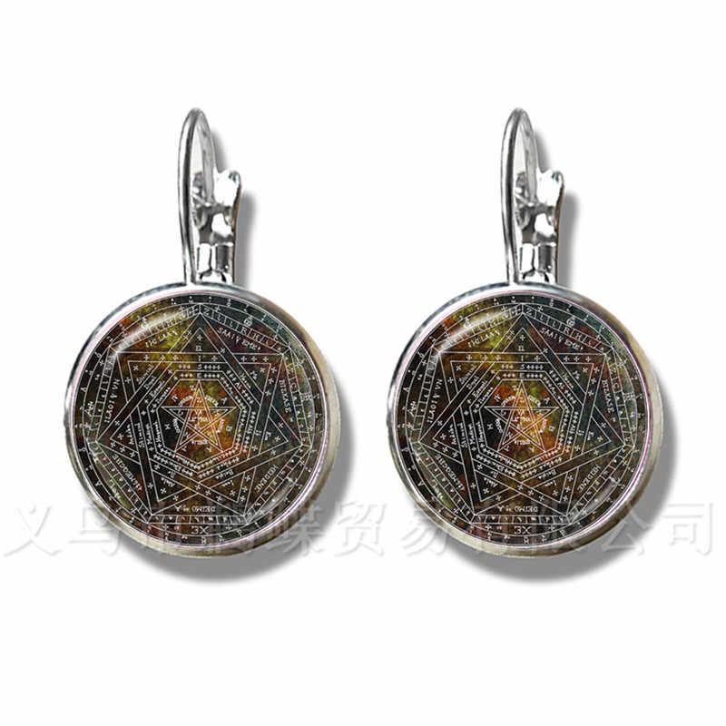 Klasyczne nadprzyrodzone Pentagram szklane kolczyki gotyckie wisiorek satanizm zło okultystycznych Pentagram biżuteria Pagan urok stadniny ucha