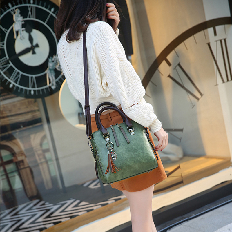 Warm Yellow Marble PatternWomens Vintage Leather Tote Urban Style Satchel Tote