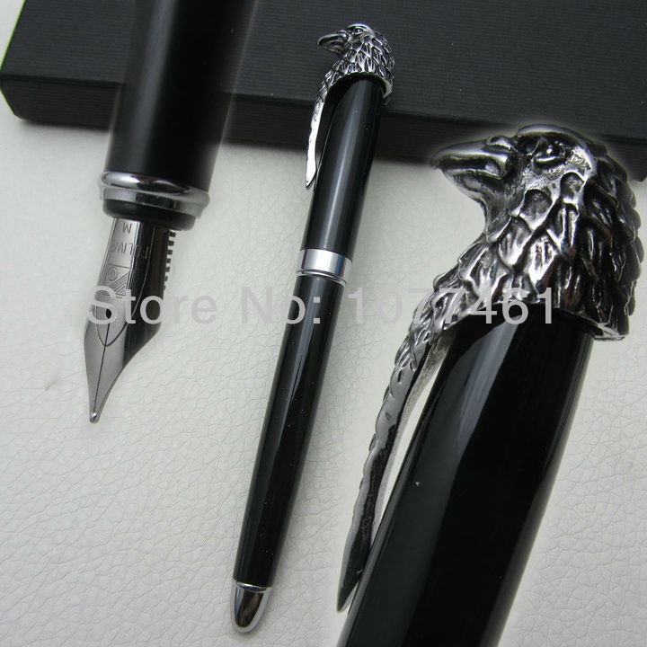 Fuliwen Fountain Pen Black and American Bald Eagle Head Clip M Nib Pen with Gift Box F1022 все цены
