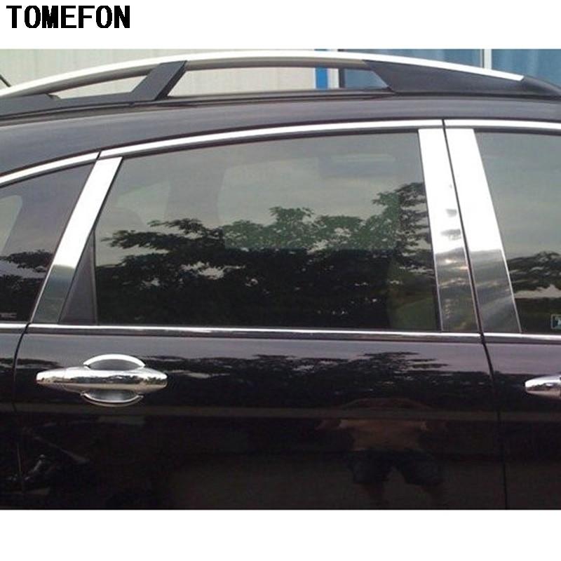 For Honda CRV CR-V 2007 2008 2009 2010 2011 Car Stainless Steel Window Trims Center Pillars B + C Pillar Covers Car Styling 6Pcs for honda crv cr v 2017 2018 stainless steel inner