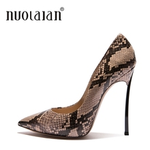 Купить с кэшбэком Brand Shoes Woman Summer Sexy Party High Heel Shoes Women Pumps Thin Heels Womens Shallow High Heels Lady Snake Printed Leather