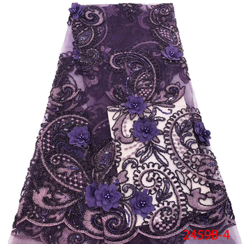 Nigerian Lace Fabric 3D Lace Fabric With Bead Embroidered 2019 High Quality Purple French Lace Fabrics For Party Dress GD2459B-3